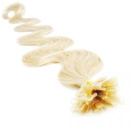 "20"" (50cm) Nail tip / U tip human hair pre bonded extensions wavy - platinum blonde"
