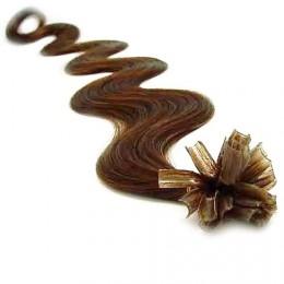 "24"" (60cm) Nail tip / U tip human hair pre bonded extensions wavy - medium light brown"