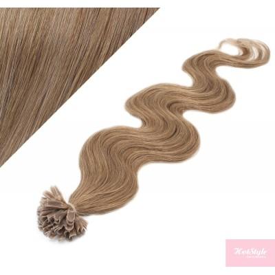 "24"" (60cm) Nail tip / U tip human hair pre bonded extensions wavy - light brown"