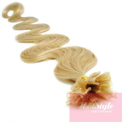 "24"" (60cm) Nail tip / U tip human hair pre bonded extensions wavy - natural blonde"