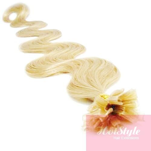 24 60cm Nail Tip U Tip Human Hair Pre Bonded Extensions Wavy