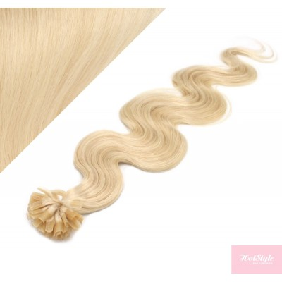 "24"" (60cm) Nail tip / U tip human hair pre bonded extensions wavy - the lightest blonde"