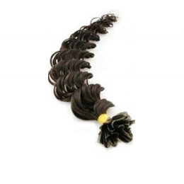 "20"" (50cm) Nail tip / U tip human hair pre bonded extensions curly - natural black"