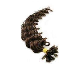 "20"" (50cm) Nail tip / U tip human hair pre bonded extensions curly - dark brown"