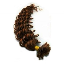 "20"" (50cm) Nail tip / U tip human hair pre bonded extensions curly - medium brown"