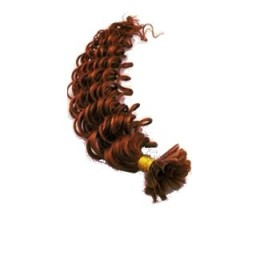 """24"""" (60cm) Nail tip / U tip human hair pre bonded extensions curly - copper red"""