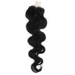 "20"" (50cm) Micro ring human hair extensions wavy- black"