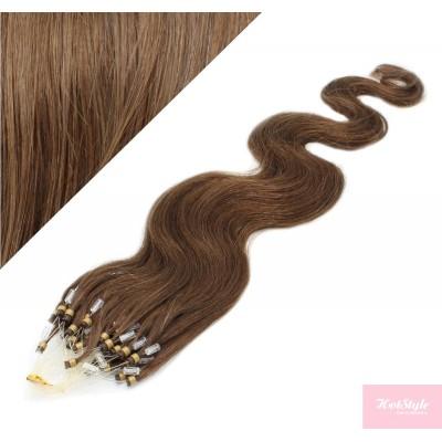 "20"" (50cm) Micro ring human hair extensions wavy- medium light brown"