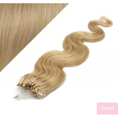 "20"" (50cm) Micro ring human hair extensions wavy- natural blonde"