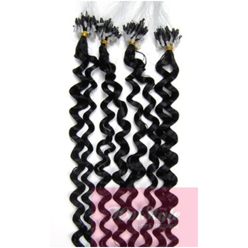 20 50cm Micro Ring Human Hair Extensions Curly Black