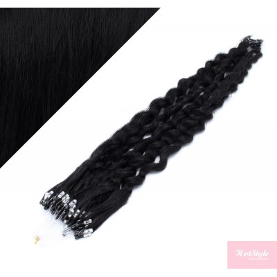 "20"" (50cm) Micro ring human hair extensions curly- black"
