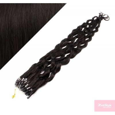 """20"""" (50cm) Micro ring human hair extensions curly- natural black"""