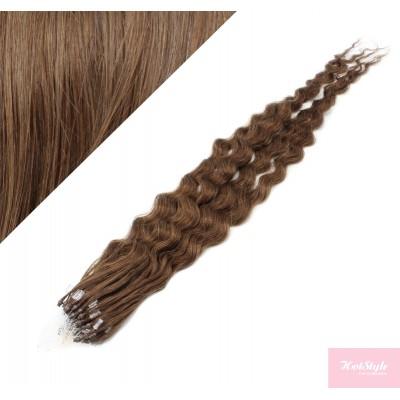 "20"" (50cm) Micro ring human hair extensions curly- medium light brown"