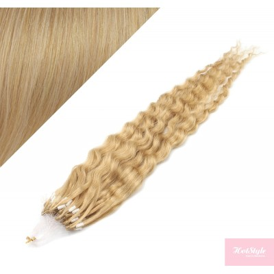 """20"""" (50cm) Micro ring human hair extensions curly - natural blonde"""