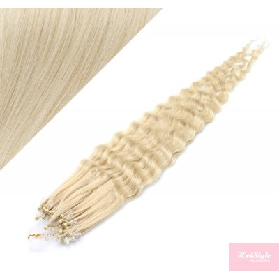 """20"""" (50cm) Micro ring human hair extensions curly - platinum blonde"""
