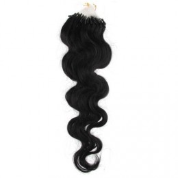 "24"" (60cm) Micro ring human hair extensions wavy - black"