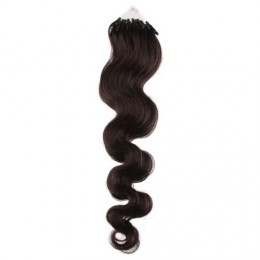 "24"" (60cm) Micro ring human hair extensions wavy - natural black"