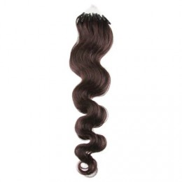 "24"" (60cm) Micro ring human hair extensions wavy - dark brown"