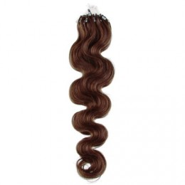 "24"" (60cm) Micro ring human hair extensions wavy - medium brown"