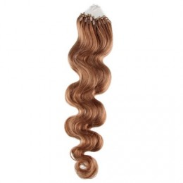 "24"" (60cm) Micro ring human hair extensions wavy - light brown"