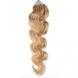 "24"" (60cm) Micro ring human hair extensions wavy - natural blonde"