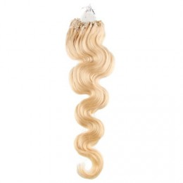 "24"" (60cm) Micro ring human hair extensions wavy - the lightest blonde"