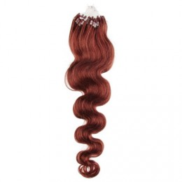 "24"" (60cm) Micro ring human hair extensions wavy - copper red"