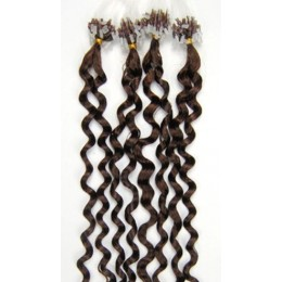 24˝ (60cm) Micro ring human hair extensions curly - medium brown