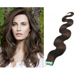 20˝ (50cm) Tape Hair / Tape IN human REMY hair wavy - dark brown