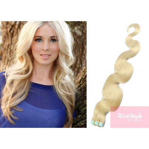 20 50cm Tape Hair Tape In Human Remy Hair Wavy Platinum Blonde