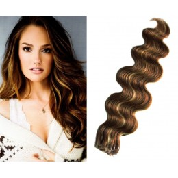 20˝ (50cm) Tape Hair / Tape IN human REMY hair wavy - dark brown / blonde
