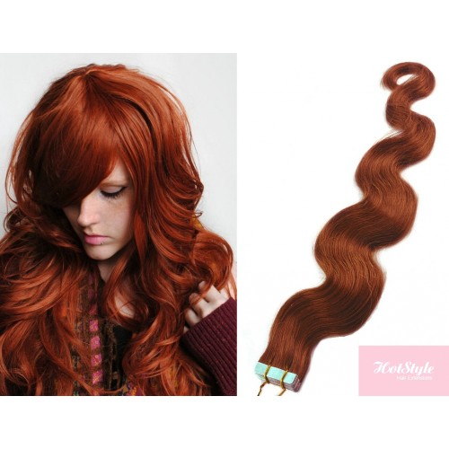 20 50cm Tape Hair Tape In Human Remy Hair Wavy Copper Red
