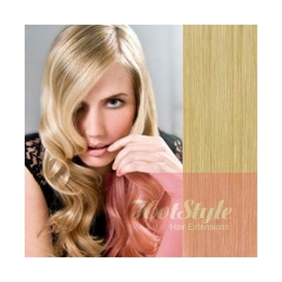 Clip in human hair Remy - natural blonde - 28