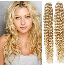 20˝ (50cm) Tape Hair / Tape IN human REMY hair curly - the lightest blonde