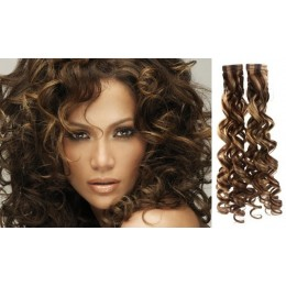 20˝ (50cm) Tape Hair / Tape IN human REMY hair curly - dark brown / blonde