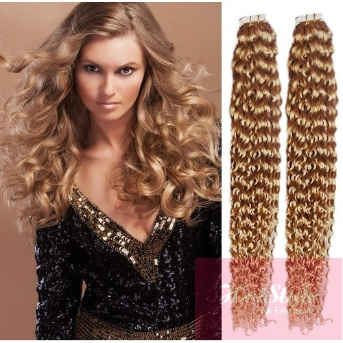 20 50cm Tape Hair Tape In Human Remy Hair Curly Natural