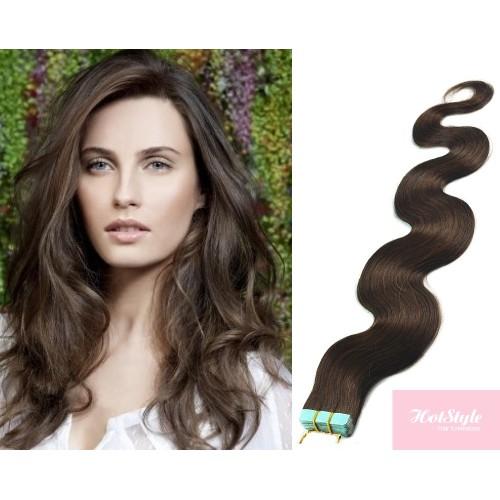 24 60cm Tape Hair Tape In Human Remy Hair Wavy Dark Brown