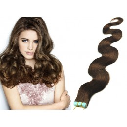 24˝ (60cm) Tape Hair / Tape IN human REMY hair wavy - medium brown