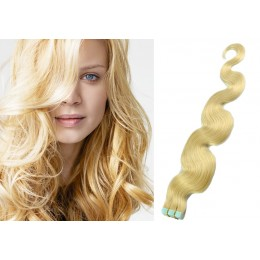 24˝ (60cm) Tape Hair / Tape IN human REMY hair wavy - the lightest blonde
