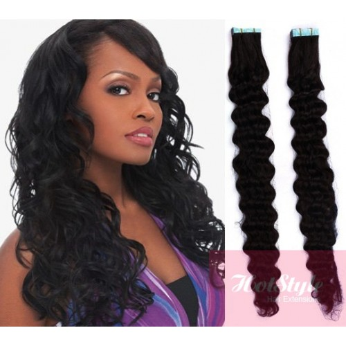 24 60cm Tape Hair Tape In Human Remy Hair Curly Black
