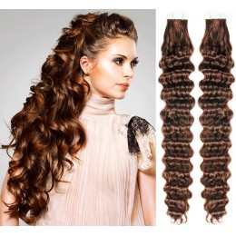 24˝ (60cm) Tape Hair / Tape IN human REMY hair curly - medium brown