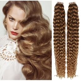 24˝ (60cm) Tape Hair / Tape IN human REMY hair curly - light brown