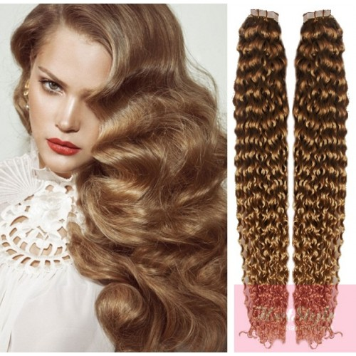 24 60cm Tape Hair Tape In Human Remy Hair Curly Light Brown