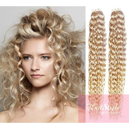 24 60cm Tape Hair Tape In Human Remy Hair Curly Platinum Blonde