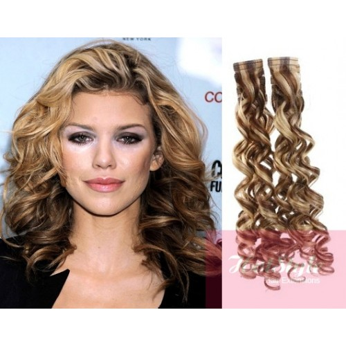 24 60cm Tape Hair Tape In Human Remy Hair Curly Mixed Blonde