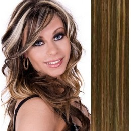 "28"" (70cm) Clip in human REMY hair - dark brown/blonde"