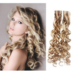 24˝ (60cm) Tape Hair / Tape IN human REMY hair curly - platinum / light brown