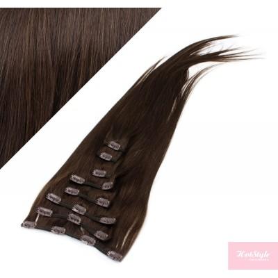 "15"" (40cm) Clip in human REMY hair 100g - dark brown"