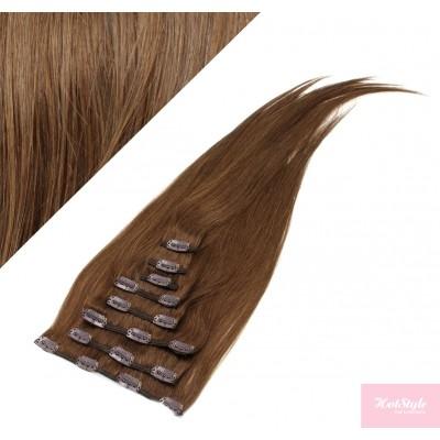 """15"""" (40cm) Clip in human REMY hair 100g - medium brown"""