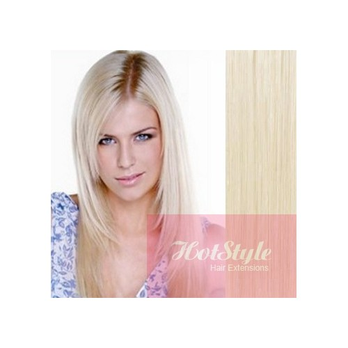 15 40cm Clip In Human Remy Hair 100g Platinum Blonde
